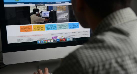 Persona viendo pantalla de computadora.