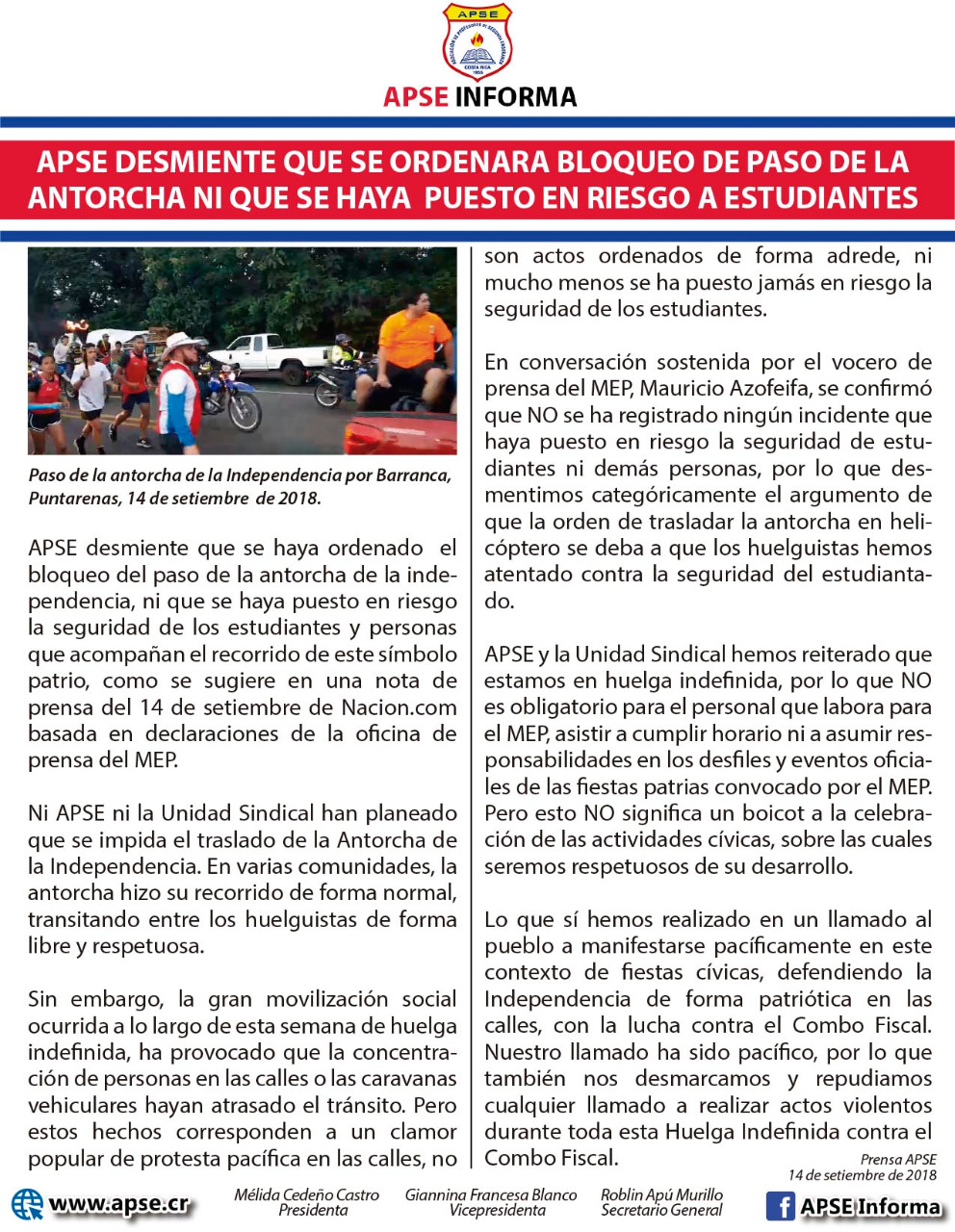 APSE desmiente que se ordenara bloqueo de paso de la Antorcha