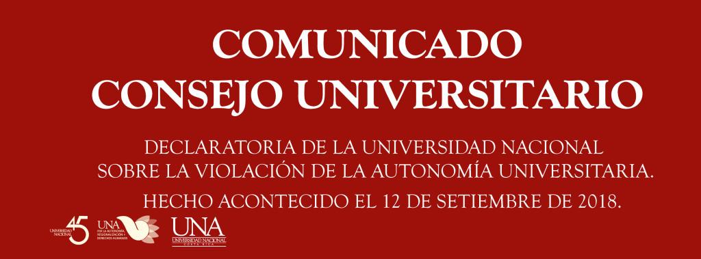 Declaratoria de la Universidad Nacional sobre la violacion de la autonomia universitaria11